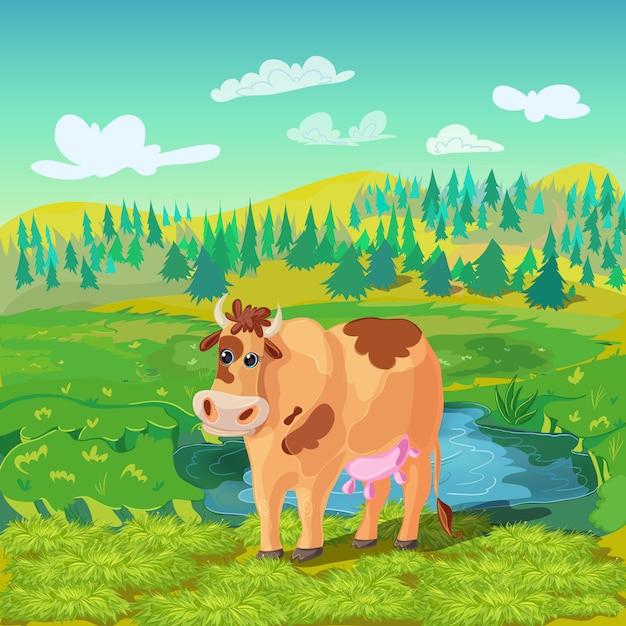 放牧牛漫画の構成 無料ベクター