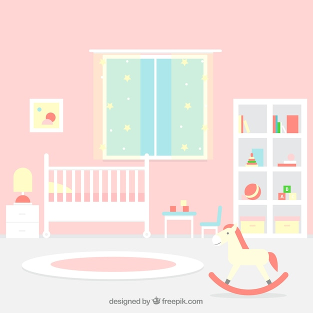 Great Baby Room With Pink Wall Vector Free Download