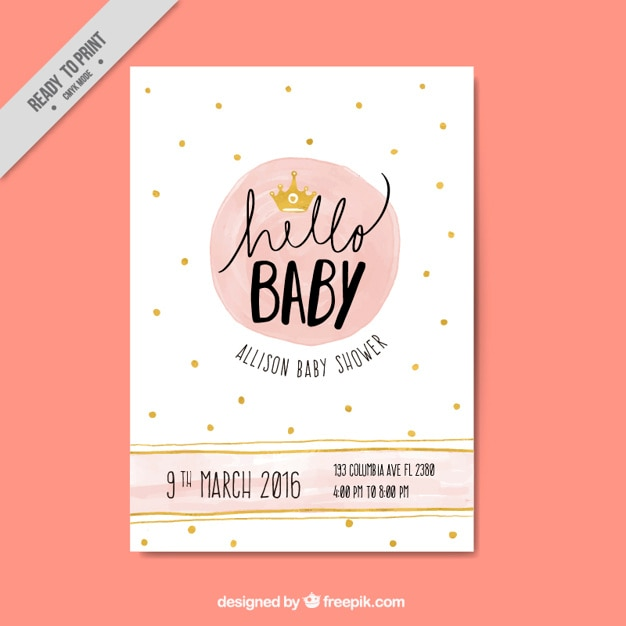 Great baby shower invitation with golden details Free Vector