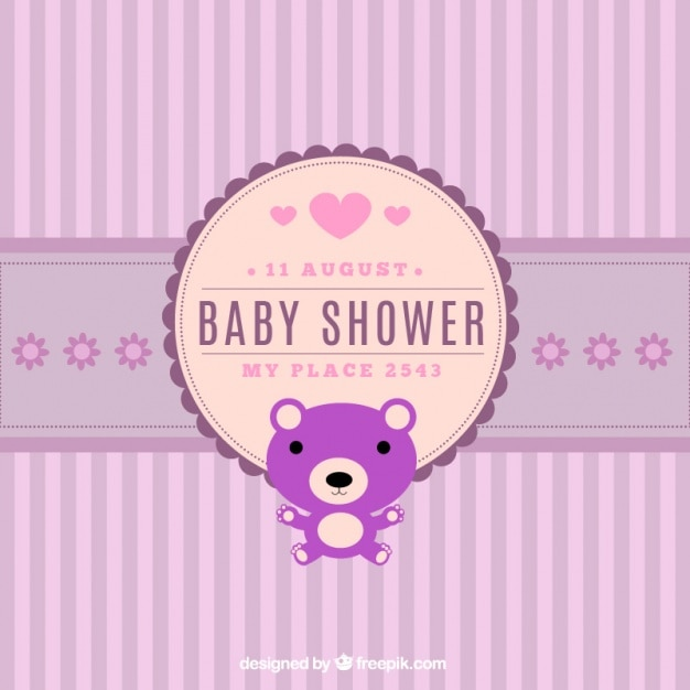 Great baby shower invitation with striped background vector free great baby shower invitation with striped background free vector filmwisefo