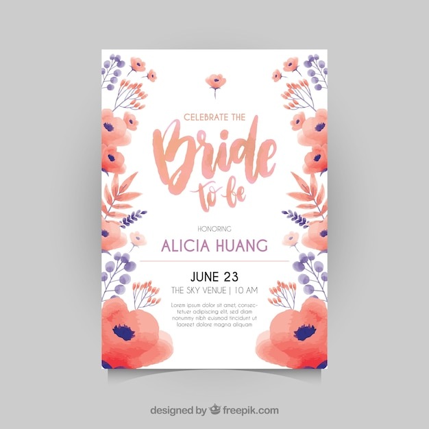 great bachelorette invitation with red and blue flowers vector