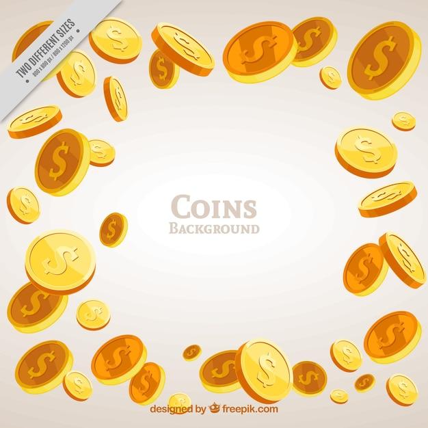 황금 동전의 멋진 배경 프리미엄 벡터