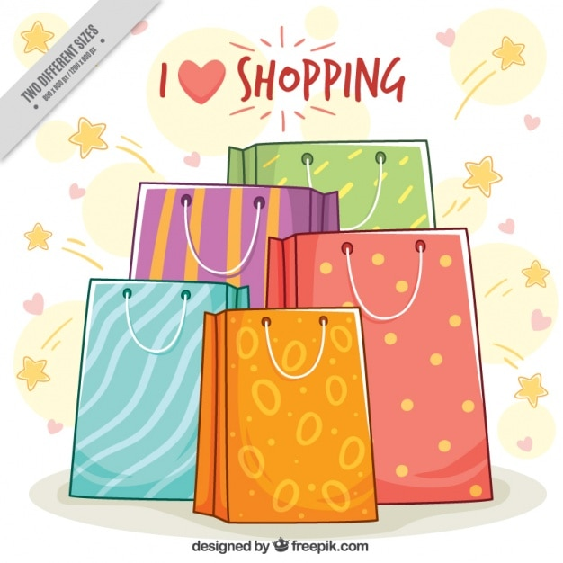 Great background of shopping bags with different designs Vector ...