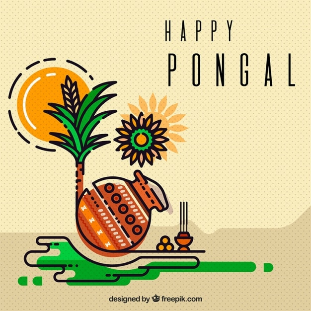Great background of pongal elements in flat design Free Vector