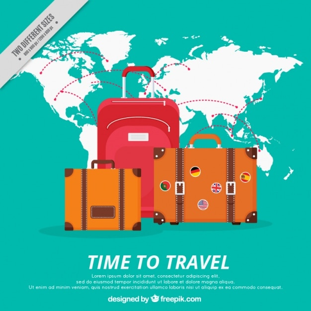 Great background with baggage and world map vector free download great background with baggage and world map free vector gumiabroncs Gallery