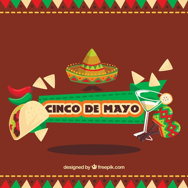 Great Background With Flat Items For Cinco De Mayo Vector ...