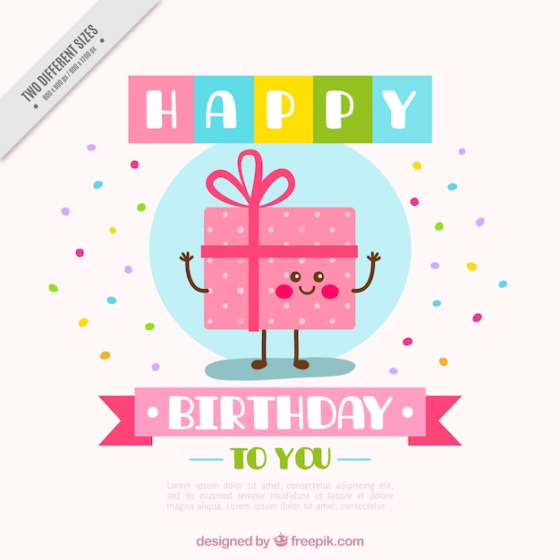 Great Background With Happy Birthday Gift Vector