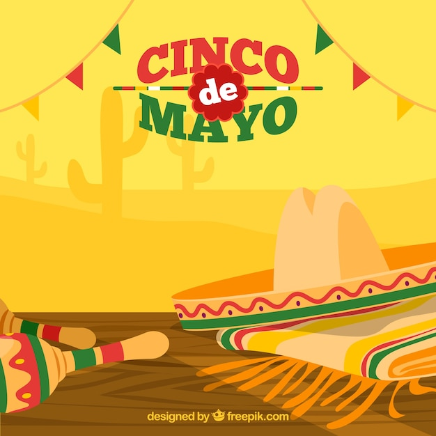Great Background With Hat And Maracas For Cinco De Mayo Free Vector