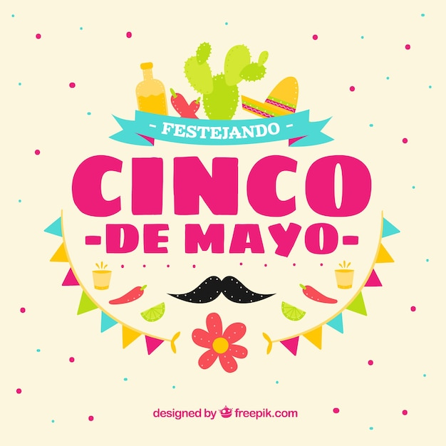 Great Background With Party Items For Cinco De Mayo Vector ...