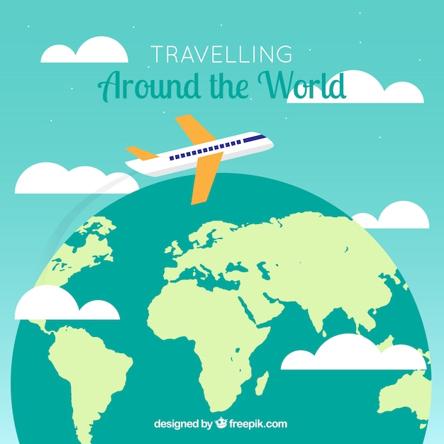 Great background with world map and plane vector free download great background with world map and plane free vector gumiabroncs Images