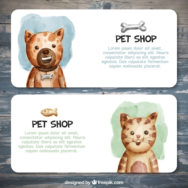 Great banners for a pet shop in watercolor style Free Vector
