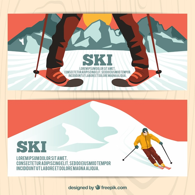 Great banners with man skiing