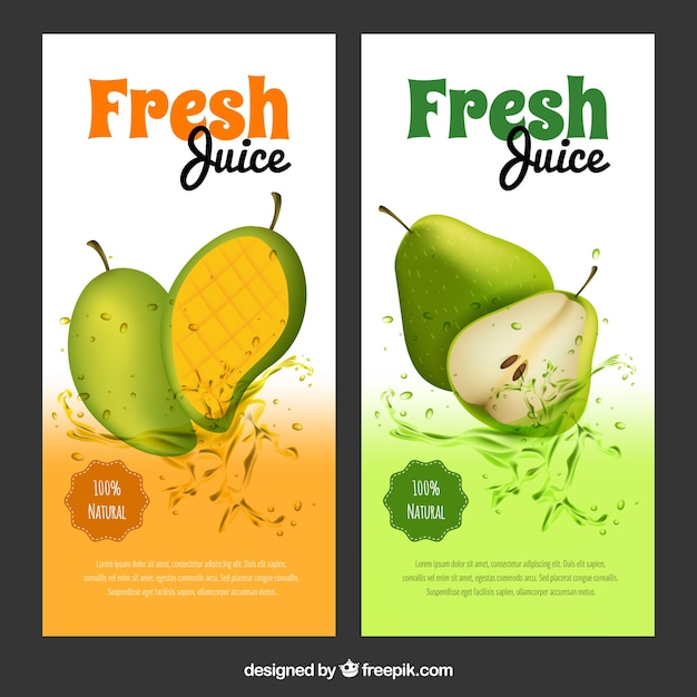 Great banners with mango and pear juices in realistic design Free Vector