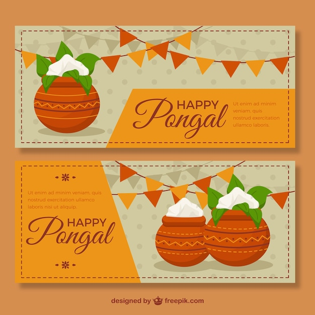 Great banners with sugarcane and garlands in flat design Free Vector