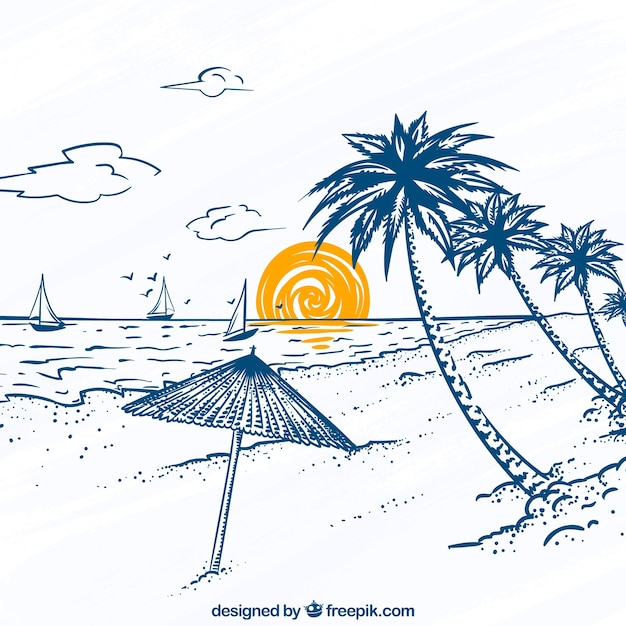 Great beach view with palm trees and sailboats Free Vector