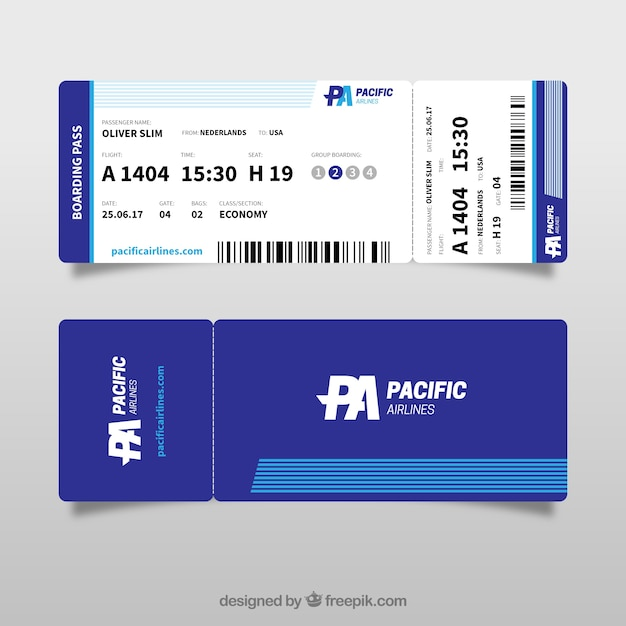 Great Boarding Pass Template In Blue Tones Vector  Free Download