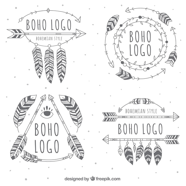 Great Boho Logos With Variety Of Designs Vector