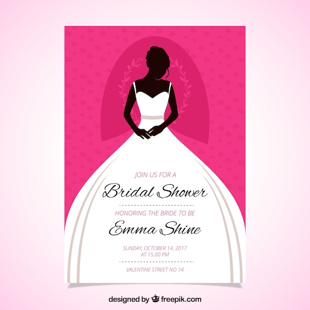 great bridal shower invitation with bride wearing the wedding dress free vector