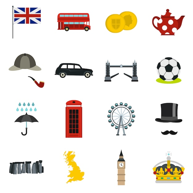 Great britain icons set in flat style Premium Vector
