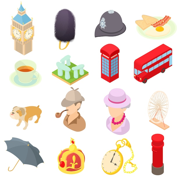 Great britain icons set in isometric 3d style Premium Vector
