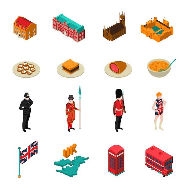 イギリス等尺性観光セット 無料ベクター