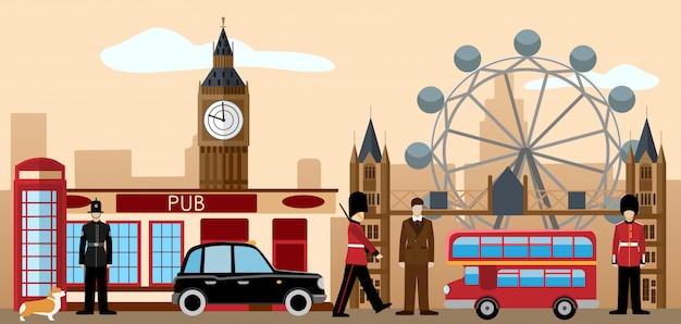 Great britain and london icon set. Premium Vector