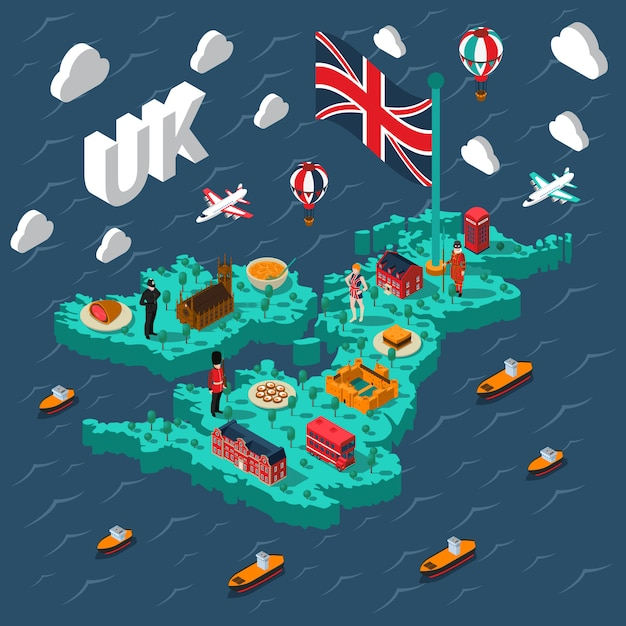 Great britain touristic isometric map Free Vector