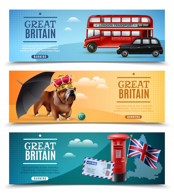 Great britain travel horizontal banners Free Vector