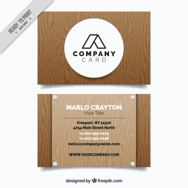 Great business card in wooden style Vector