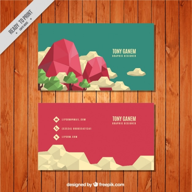 Great business card with geometric landscape vector free download great business card with geometric landscape free vector colourmoves