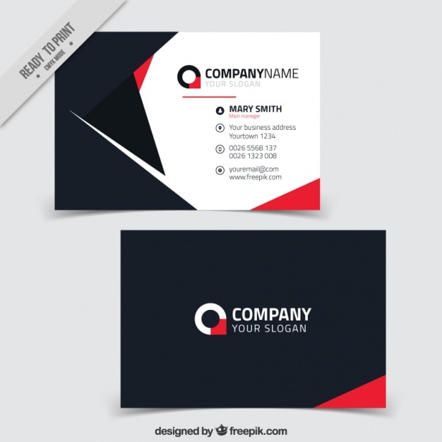 Great business card with red details Vector