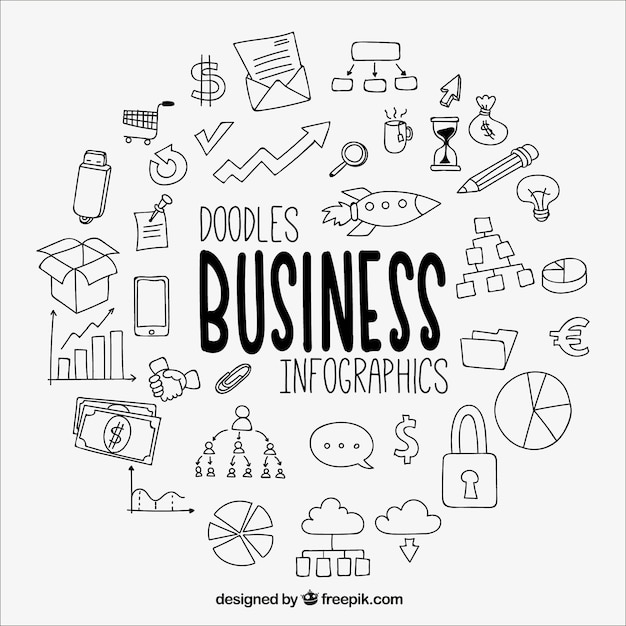 Great business infographic with drawings Free Vector