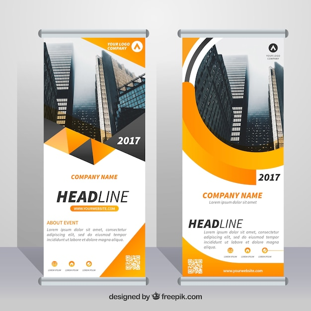 Great business roll up with orange forms Free Vector