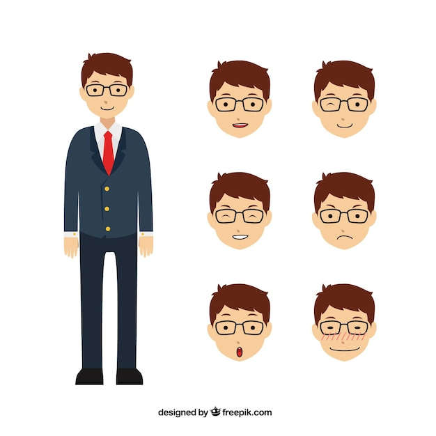 Great businessman character with six different facial expressions Premium Vector