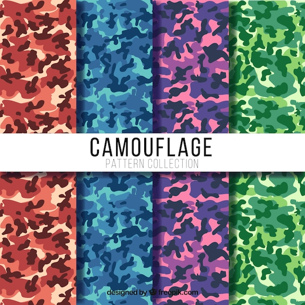 Great camouflage patterns with different colors Premium Vector