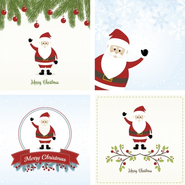 Great Cards With Santa Claus To Celebrate Christmas Free Vector