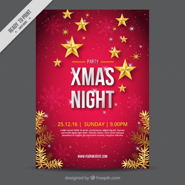 Great christmas brochure with snowflakes and stars Free Vector