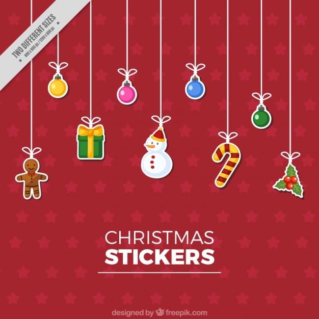 Great christmas stickers in flat design Premium Vector