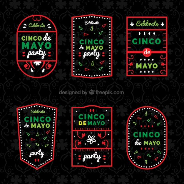 Great cinco de mayo labels with red frame Free Vector