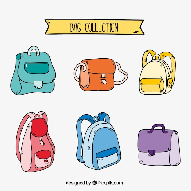 Great collection of different types of backpacks Free Vector