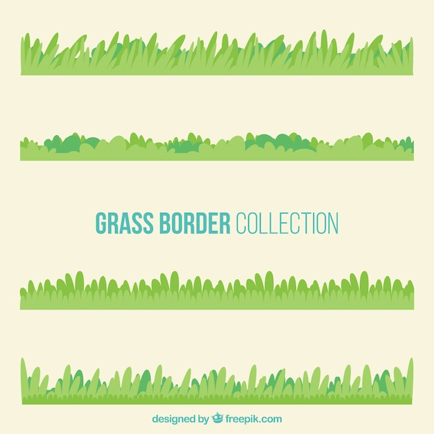 Great collection of grass borders in green tones Free Vector