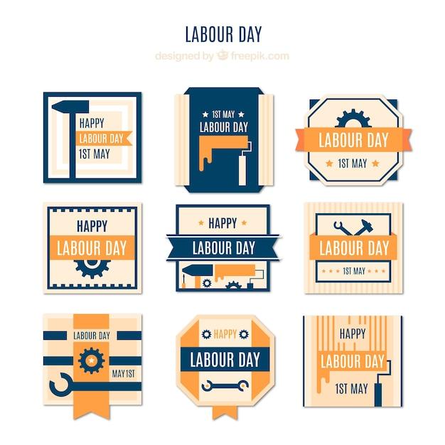 Grande raccolta di giorno di lavoro etichette con elementi di colore arancione Vettore gratuito