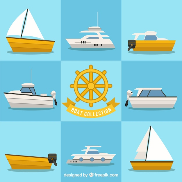 Great collection of boats in flat design