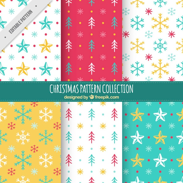 Great collection of christmas patterns with\ colorful elements