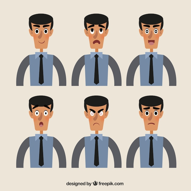 Character Design Vector Free Download : Great collection of expressive businessman character in