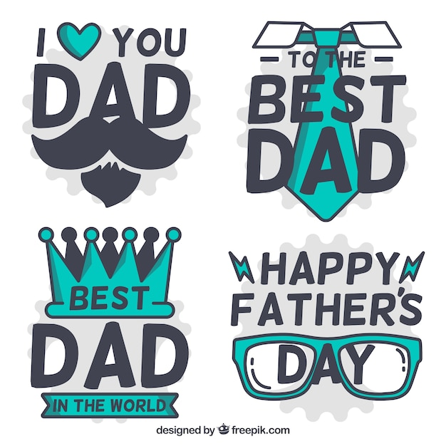 Great collection of father's day labels with green objects Free Vector