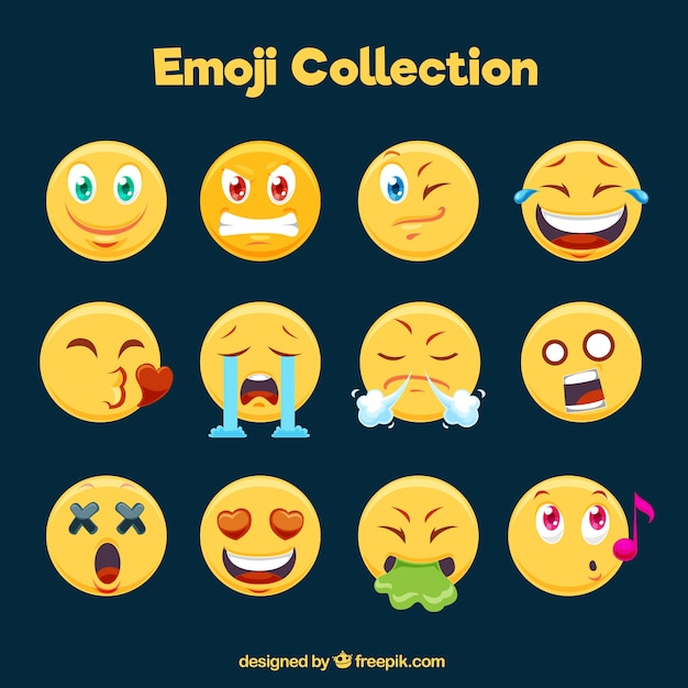 Great collection of funny emoticons in flat design Free Vector