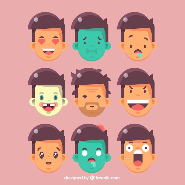 Great collection of man\'s face emoticons in\ flat design