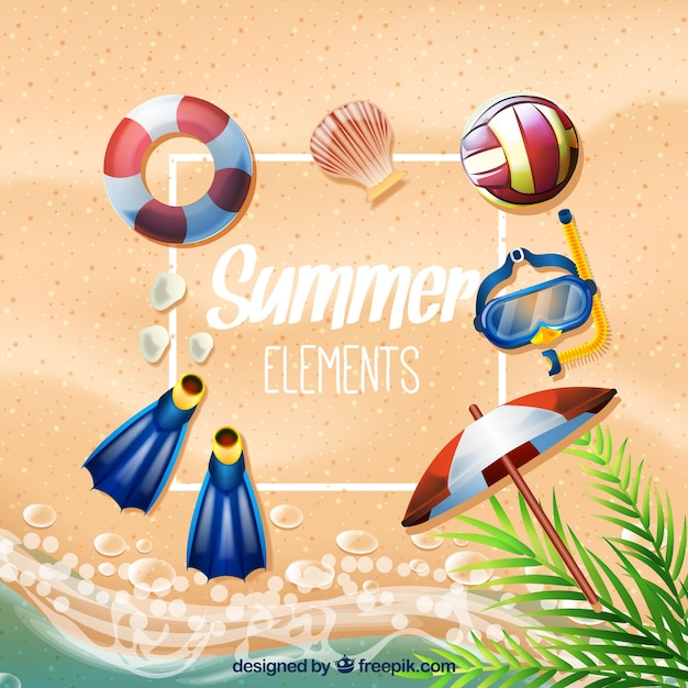 Great collection of realistic summer\ elements