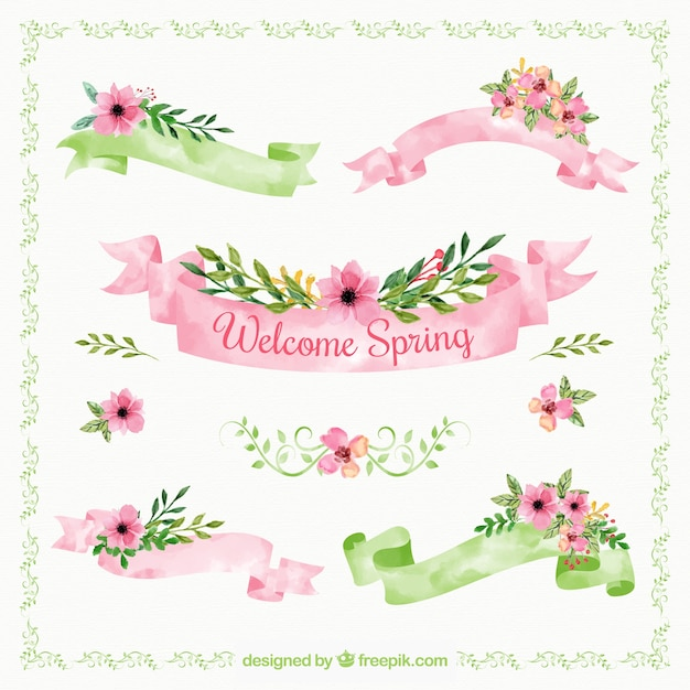 Great collection of spring ribbons in watercolor style Free Vector